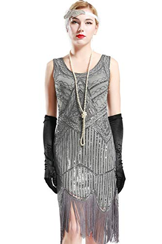 BABEYOND 1920s Flapper Dress Roaring 20s Great Gatsby Costume Dress Fringed Sequin Dress Embellished Art Deco Dress (X-Small, Black and Gray) ()