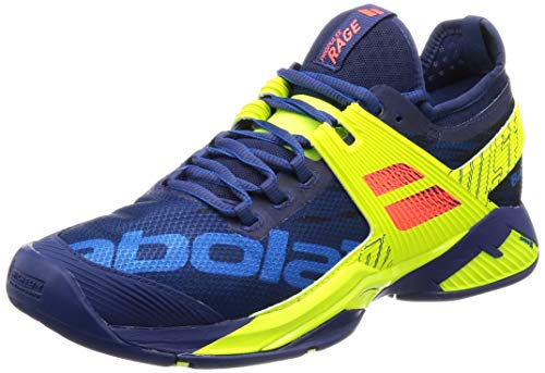 Babolat Men`s Propulse Rage All Court Tennis Shoes Blue and Fluo Aero (8.5)