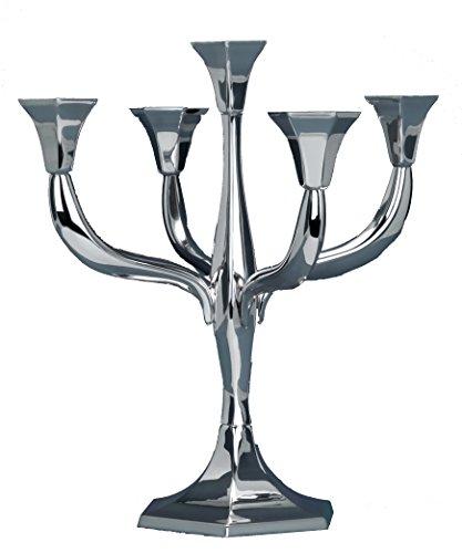 Hazorfim Goldwasser Short Hexagonal Candelabra 5 Branches Shabbat candelabra sterling silver judaica Israel Jerusalem Holy Land gift Sabbath candlesticks candles light 925 hatzorfim by Hazorfim