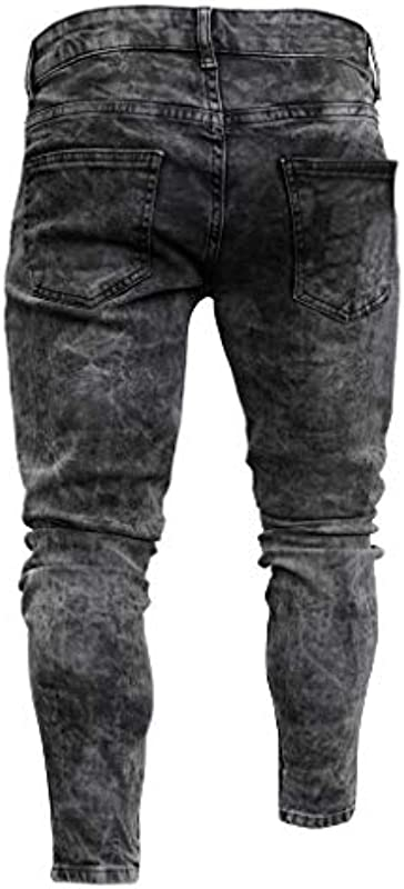 GreatestPAK Męskie spodnie skinny stretch Denim Distressed Ripped Freyed Slim Fit, spodnie z pękniętymi dziurami, zamek błyskawiczny na stopie, elastyczne, małe spodnie: Odzież