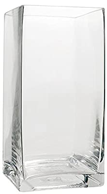 Flower Glass Vase Decorative Centerpiece For Home or Wedding by Royal Imports - tall square clear glass rose vase