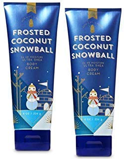 Bath and Body Works 2 Pack Frosted Coconut Snowball Ultra Shea Body Cream 8 Oz.