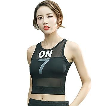 Jan&deloe Chaleco de Yoga bra gimnasio deportes ropa interior dama Carta pauta bustiers chaleco negro S