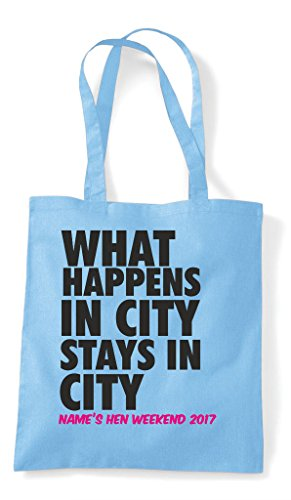 Your Personalised Shopper Hen Tote Happens Sky Blue City What Party In Do Stays Bag Customised 8wqwTxXC