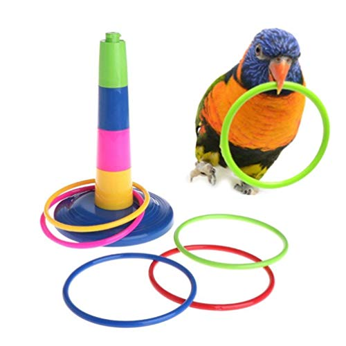 Wontee Bird Parrrot Rings Plastic Training Toy for Birds Educational Colorful Intelligence Development Interactive Parrot Cage Play Screw Training Toy
