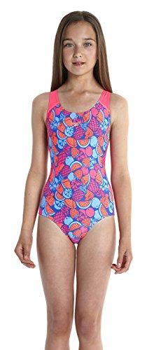 Speedo Mädchen Fruit Cocktail Splashback Badeanzug mit Allover Print, Deep Peri/Siren, 140, 8-07386A744140