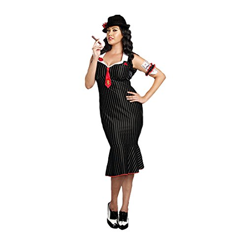 Dreamgirl Women's Plus-Size Deadly Dames Pinstripe Gangster Costume,Multi, -