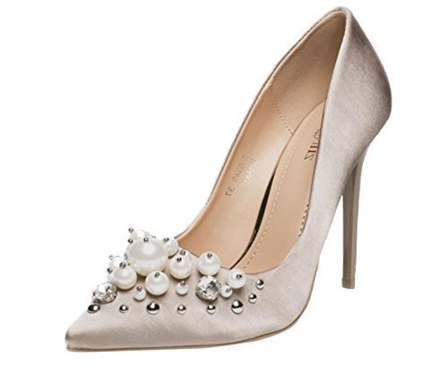 Satin Pompe On A Smart Shoes Donna Diamante Shu Tacco Pearl F34 Dressy Ladies Court Party Slip Crazy Cachi Spillo q6Hwxpt