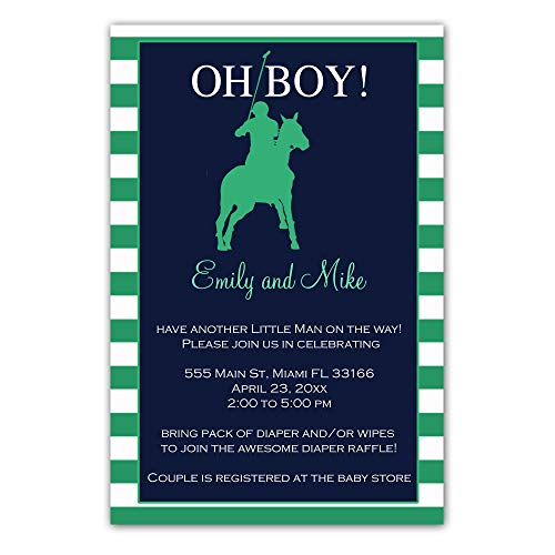 30 Invitations Polo Baby Boy Shower Personalized Cards Green Photo Paper