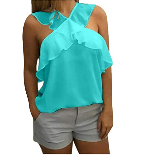 NCCIYAZ Womens Vest Tank Chiffon Cross Straps Sleeveless Tops Pure Colour Plain T-Shirts Ladies Blouse Camisole(XL(10),Turquoise) ()