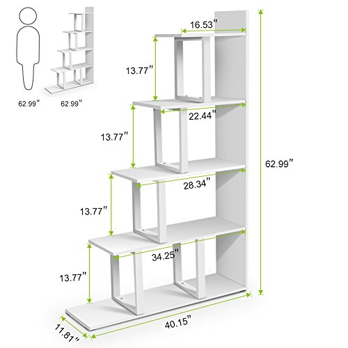 Tribesigns 5-Shelf Ladder Corner Bookshelf, Modern Simplism Style 67 '' H x 14.2'' W x 7.5''L, Made of Steel and Wood, for Living Room or Hallway (White) by Tribesigns (Image #6)