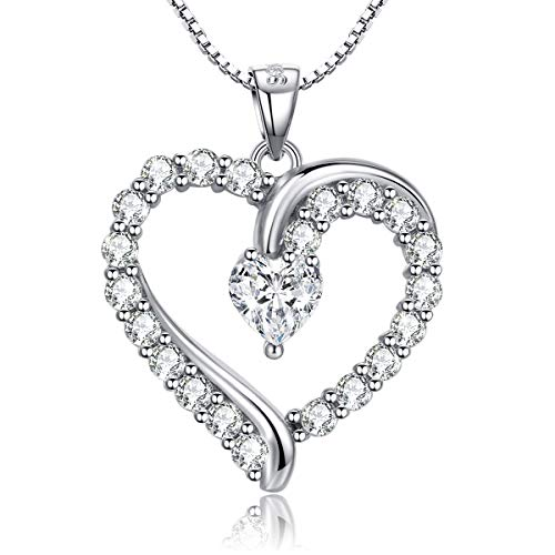 Annie & Kevin 925 Sterling Silver Heart Necklace Cubic Zirconia Love Heart-Shaped Simulated Diamond Pendant Jewelry Gift Box for Women Girls ()