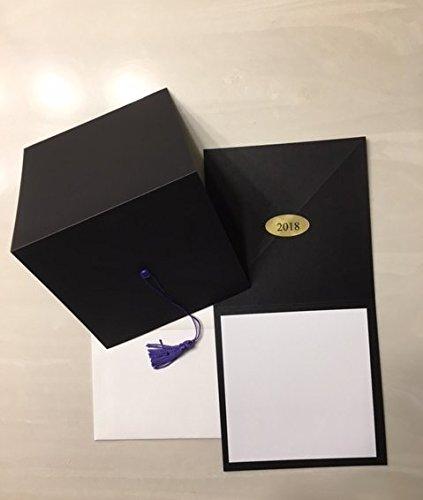 2018-Black cap graduation invitation-purple tassel-blank printable insert-25 count with envleopes -