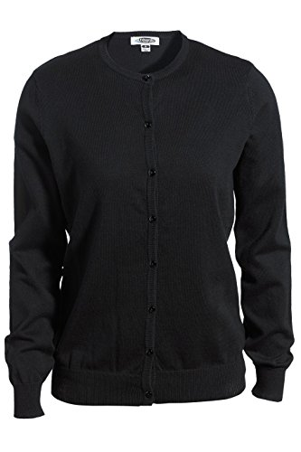 Edwards Garment Women's Charming Jewel Neck Cardigan, Black, XX-Large Cotton Jewel Neck Sweater