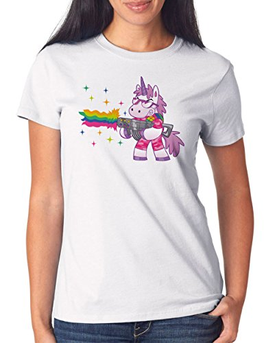 Shooting Unicorn T-Shirt Girls White Certified Freak