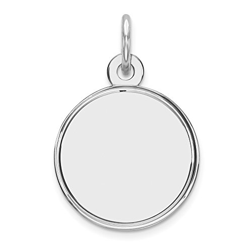 Sterling Silver Rhodium-plateded Engravable Round Polished Front Disc Charm Pendant
