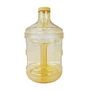 "1 Gallon BPA FREE Reusable Plastic Drinking Water Big Mouth Bottle Jug Container with Holder - Yellow ""Gold"""