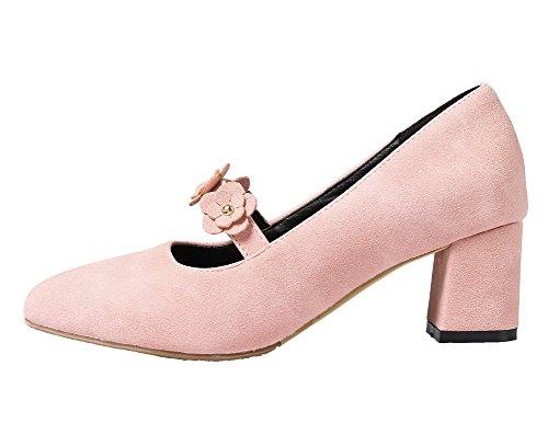Allhqfashion Femmes Chaton-talon Dépoli Pointu Fermé Bout Fermé Pompes-chaussures Rose