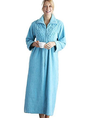 National Chenille Zip Robe, Light Teal, Large