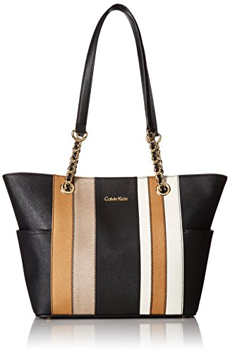 Calvin Klein Key Item Chain Saffiano Tote, Metallic Tpe Combo by Calvin Klein