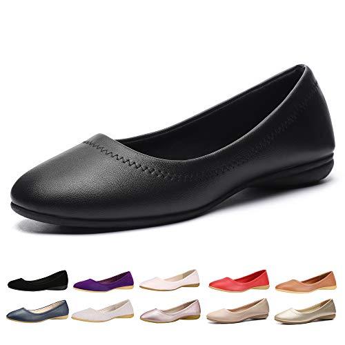 CINAK Women Flats Shoes - Slip-on Ballet Comfort Walking Shoes for Women (6-6.5 B(M) US/ CN38 / 9.4'', Black PU)