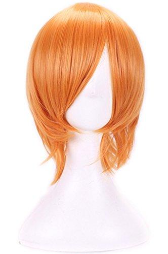 AneShe Men's Short Straight Layered Hair Anime Cosplay Costume Wig (Orange)