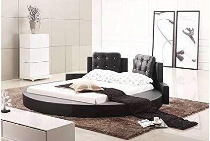 Cama piel redondo Design Baltimore Negro en 160 x 200 cm ...
