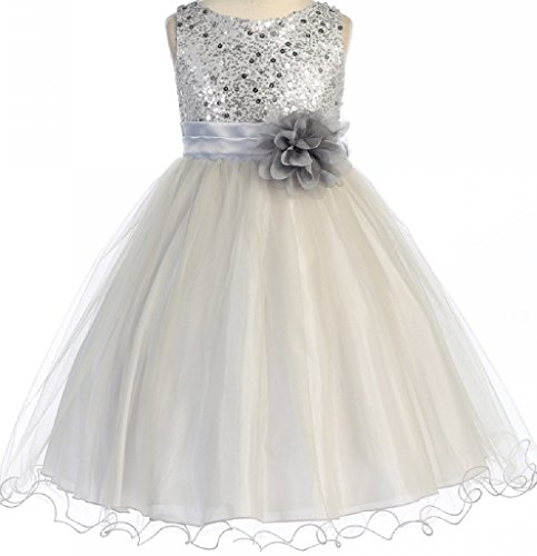 Long Charmeuse Bodice Dress (Big Girls' Gorgeous Sequined Round Neck Tulle Flower Corsage Pageant Flower Girl Dress Silver 10 (K30D5))