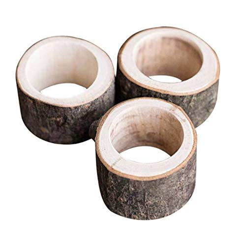 2 pcs Retro Wooden Napkin Ring Wedding Party Napkin Holder Table Decoration