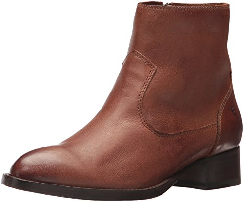 FRYE Women's Brooke Short Inside Zip Ankle Bootie, Cognac, 8.5 M US