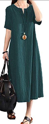 Yeesea Mujer Casual Algodón y Lino Talla Grande Largo Maxi Vestido Verano Kaftan Manga Corta Vestidos Verde