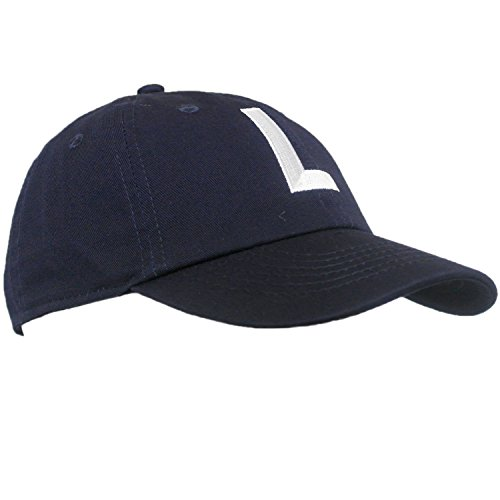 Old Style Baseball Cap - Tiny Expressions Toddler Boys' and Girls' Navy Embroidered Initial Baseball Hat Monogrammed Cap (L, 2-6yrs)