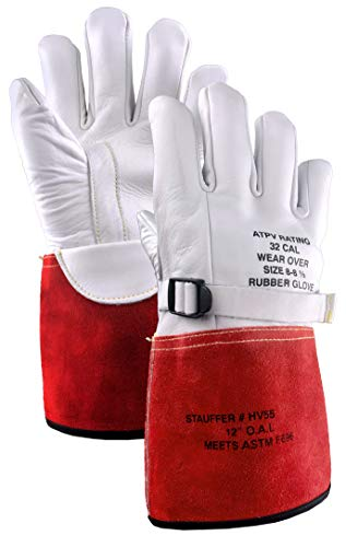 Stauffer High Voltage Cowhide Electrical Glove Protectors | 32 Cal/cm2 ATPV Rating, Red/White Color, Gauntlet Cuff - Large (1 Pair)