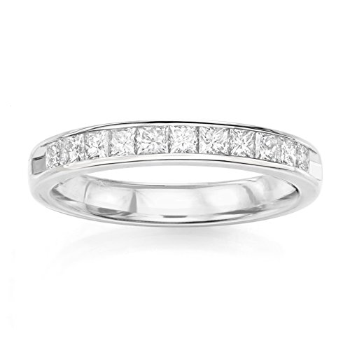 14KT White Gold 0.34ct G-I SI1/SI2 Channel Machine Set Wedding Ring by Uncle Sam's Collection