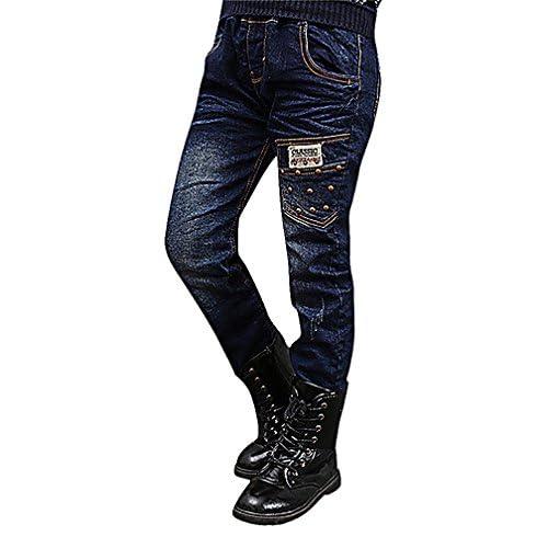 nice Sweety, Boy's Stylish Blue Skinny Jeans Zip Pockets Super Soft Patches