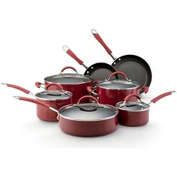 KitchenAid Aluminum Nonstick 12-Piece Cookware Set, Red