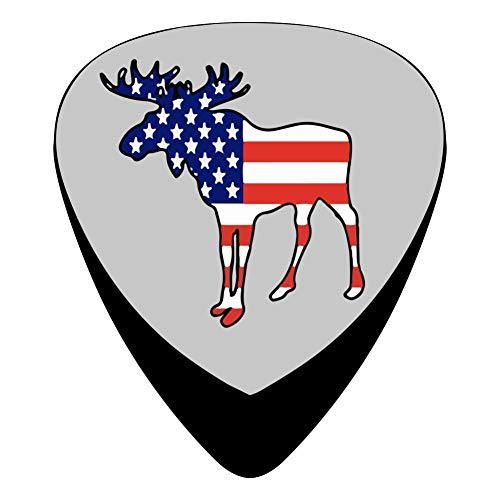 (STREMUSIC Moose Silhouette with American Flag Celluloid Electric Guitar Picks 12-pack Plectrums For Bass Music Tool)