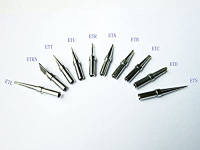 "10 PCS Weller ET Replacement Soldering Tips for WES51/50,WESD51,PES51 / 50,LR21 Solder Iron Tip, ETS/L/KN/T/U/R/A/B/C/D (China Made brand""ACE"")"