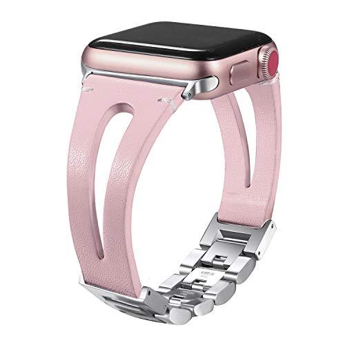 Secbolt 42mm/44mm Leather Bands Compatible Apple Watch Band Series 4 44mm, Series 3/2/1 42mm, Handmade Vintage Leather Bracelet (42mm Hollowed Blush Pink)