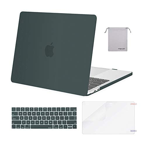MOSISO Compatible with MacBook Pro 13 inch Case 2016-2020 Release A2338 M1 A2289 A2251 A2159 A1989 A1706 A1708, Plastic Hard Shell Case&Keyboard Cover Skin&Screen Protector&Storage Bag, Midnight Green