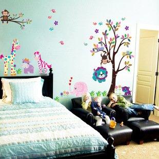 la gran pared grande etiqueta el colorido rbol animales y adhesivos para pared habitacin de los