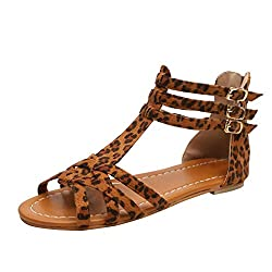 Jjliker Womens Snake Leopard Thong Strappy Flat Sandals Ankle Buckle Strap With Zipper Cirss Cross Gladiator Shoes Brown