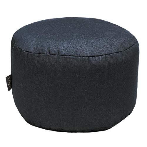 DYNWAVE Navy Blue 45cm Round Ottoman Pouf Cover Footstool -