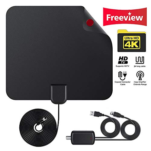 Digital HDTV Antenna Amplified 50 Miles Range Supports 1080P HD VHF UHF Freeview for Life Local Caannels Broadcast, Indoor Outdoor TV Antenna Amplifier Signal Booster 10 feet Coax Cable