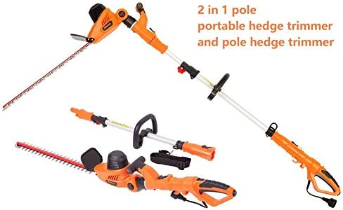 NBCYHTS Corded Electric Hedge Trimmer with 20 Laser Blade, 4.8A Multi-Angle 2 in 1 Pole and Portable Hedge Trimmer