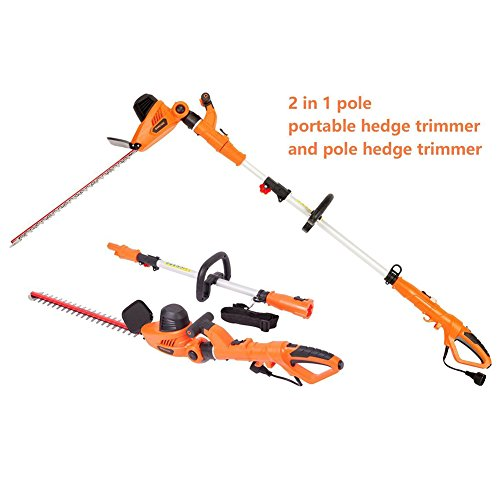 NBCYHTS Corded Electric Hedge Trimmer with 20″ Laser Blade, 4.8A Multi-Angle 2 in 1 Pole and Portable Hedge Trimmer