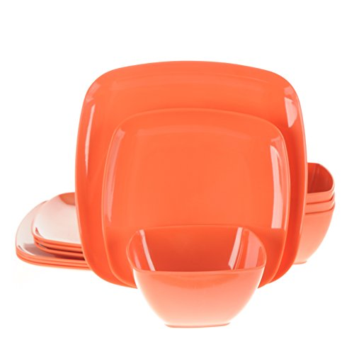 Handi-Ware 12-Piece Melamine Dinnerware Set, Service for 4, Break & Chip Resistant, Indoor/Outdoor, Square Design, by Unity (Festive Orange)