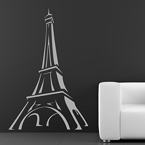 Cartoon Eiffel Tower Outline Rest of the World Wall Sticker Home Decor Art Decal available in 5 Sizes and 25 colors X-Large Moss Green -