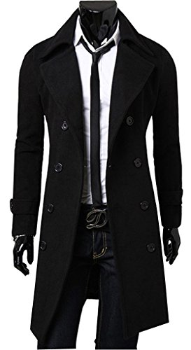 Uget Men's Trench Coat Winter Long Jacket Double Breasted Overcoat Black XL