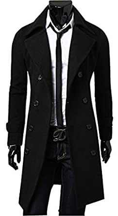 Uget Men's Trench Coat Winter Long Jacket Double Breasted Overcoat Black S